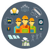Power station energy icons Royalty Free Stock Photo