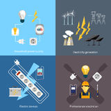 Power station energy icons Stock Photo