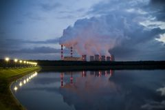 Power station on evening Royalty Free Stock Images