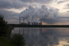 Power station on evening Stock Images