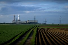 Power station in fields stock images