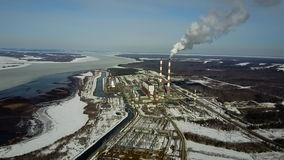 Power station. Flight on quadcopter stock video footage