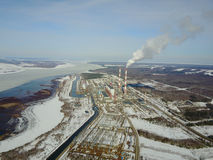 Power station. Flight on quadcopter Stock Image