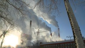 Power station. Footage of smoke coming out of power station chimneys stock video footage