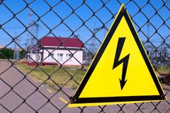 Power station. Hazard Warning Sign. The structure of the electrical plant stock images