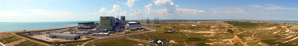 Power Station. The huge power station at Dungeness and surrounding country side in this panoramic shot Royalty Free Stock Photo