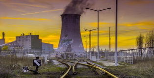 Power station - Industrial view Royalty Free Stock Image