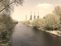 Power Station near a Channel Royalty Free Stock Photos