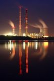 Power station by night Royalty Free Stock Photo
