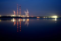 Power station by night. A power station by night in Rybnik, Poland Royalty Free Stock Image