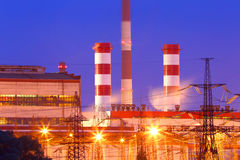 Power station with night lighting.Industrial business. Stock Image