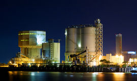 Power station at night with smoke Royalty Free Stock Photo