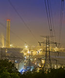 Power station at night with smoke Stock Photography