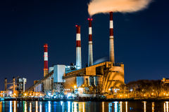 Power station by night Stock Photo