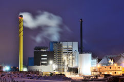 Power station at night in winter Royalty Free Stock Photo