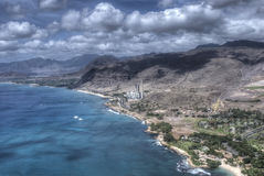 Power station Oahu, Hawaii. Ariel shot of Downtown Honolulu Royalty Free Stock Image