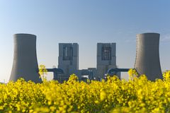 Power station for rape blossom Royalty Free Stock Photo