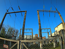 Power station. Russian power station with wide angle fisheye lens view stock images