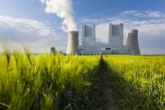 Power Station And Rye Field Stock Photography