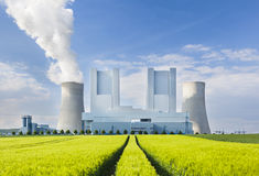 Power Station And Rye Field Royalty Free Stock Photos