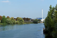 Power station on seine river stock image