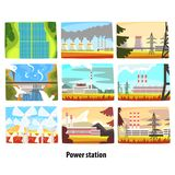 Power station set, ecological friendly low and zero emission power stations and energy producing plants. Colorful vector Illustrations Royalty Free Stock Photography