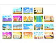 Power station set, electricity generation plants and sources. Colorful vector Illustrations royalty free illustration