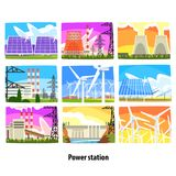 Power station set, electricity generation plants and sources. Colorful vector Illustrations stock illustration