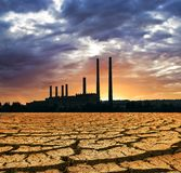 Power station silhouette and a dry land Royalty Free Stock Image