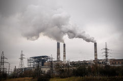 Power station with smoke stack Stock Photography