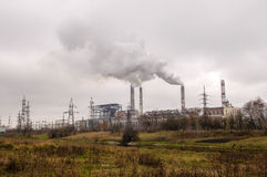 Power station with smoke stack Royalty Free Stock Image