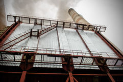 Power station with smoke stack Stock Photos