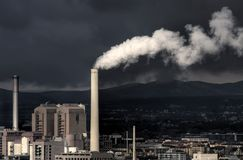 Power Station & Storm. Power Station in the suburbs of Frankfurt, Germany with Storm Approaching Stock Photography
