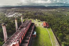 Power station stormy aerial drone view royalty free stock photo