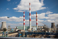 Power station on sunny day Royalty Free Stock Photo