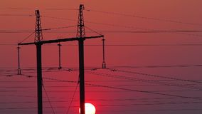 Power station at sunset. stock footage