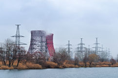 Power station. Thermal power plant in the cold season Royalty Free Stock Images