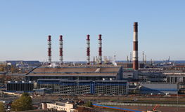 Power station. And tube in the city Royalty Free Stock Image