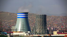 Power station and Ulaanbaatar cityscape stock video
