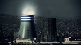 Power station and Ulaanbaatar cityscape, retouched stock video footage