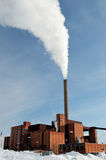 Power station in winter, steam from stack Royalty Free Stock Photos