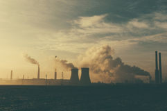 Power stations and industrial chimneys Royalty Free Stock Photos