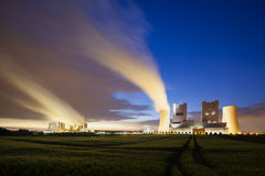 Power Stations At Night Stock Photo