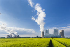 Power Stations And Rye Field Royalty Free Stock Images