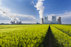 Power Stations And Rye Field Stock Photo