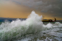 Power of the storm. Great storm on the winter seafront Stock Images