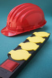 Power strip with safety helmet Stock Photo