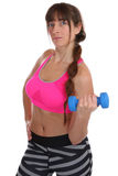 Power strong fitness woman at sports biceps workout with dumbbel Royalty Free Stock Photography