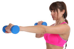 Power strong strength fitness workout woman at sports training w. Ith dumbbells isolated on a white background Royalty Free Stock Image
