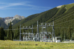 Power substation. Electrical power substation in a power grid Royalty Free Stock Photos